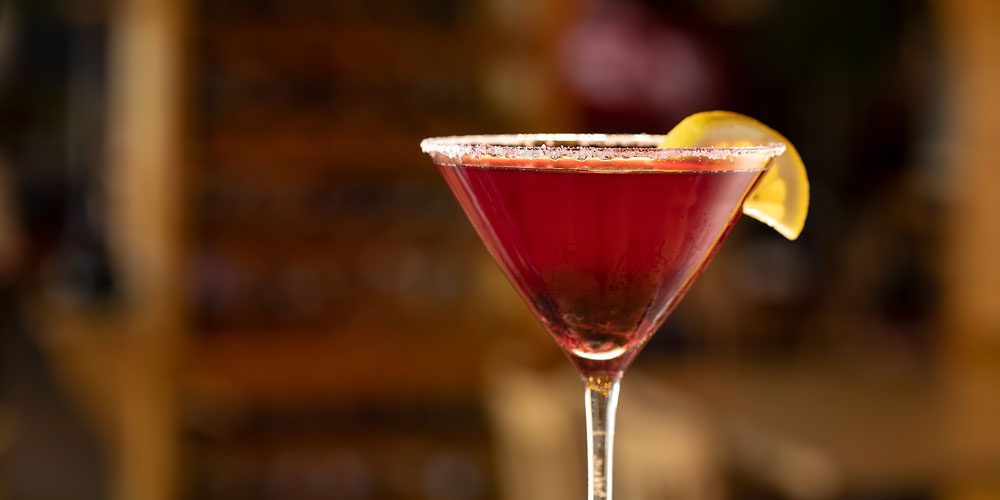 close up of a red cocktail